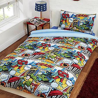 Childrens/Kids Comic Strip Design Single Duvet/Bedding Set
