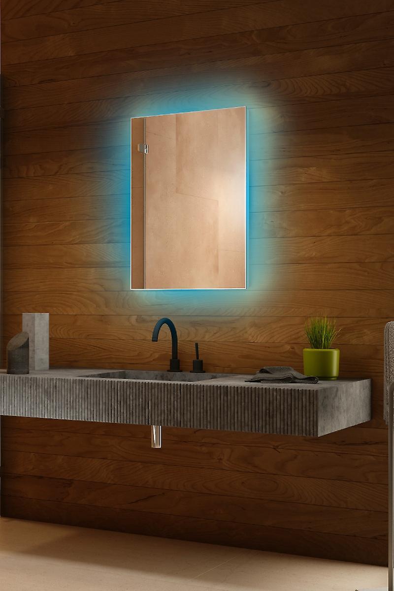RGB Backlit Mirror with Sensor, Demister & Shaver Socket k704BLrgb
