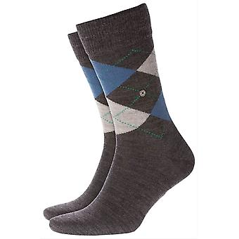 Burlington Edinburgh Socks - Anthra Grey/Light Grey/Blue