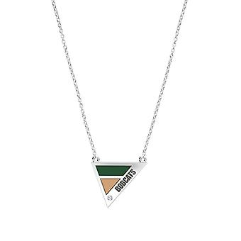 Ohio University Engraved Sterling Silver Diamond Geometric Necklace In Green and Brown
