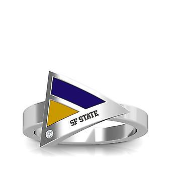 San Francisco State University gravert Sterling Silver Diamond geometrisk ring i lilla og gult