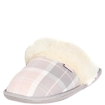 Womens Barbour Lydia Winter Outdoor Pink Faux Fur Luxury Mules Slippers