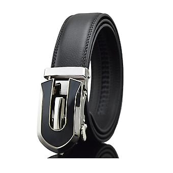 Belt man adjustable black real leather and buckle steel black and silver