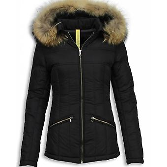 Black Winter Coat With Fur Collar - Black