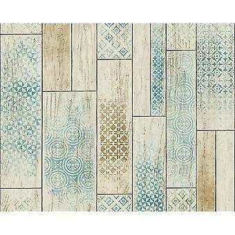 A.S. Creation AS Creation Wood Panel Pattern Wallpaper Kitchen Bathroom Tribal Motif 330892
