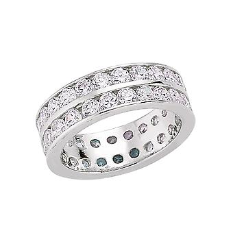 Jewelco London Rhodium Plated Sterling Silver Round Brilliant Cubic Zirconia Full Eternity Ring