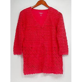 Liz Claiborne New York Women's Sweater Hand Crochet V-Neck Pink A232264