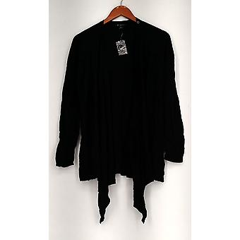 H by Halston Top Long Sleeve Crossover Cardigan Black A276472