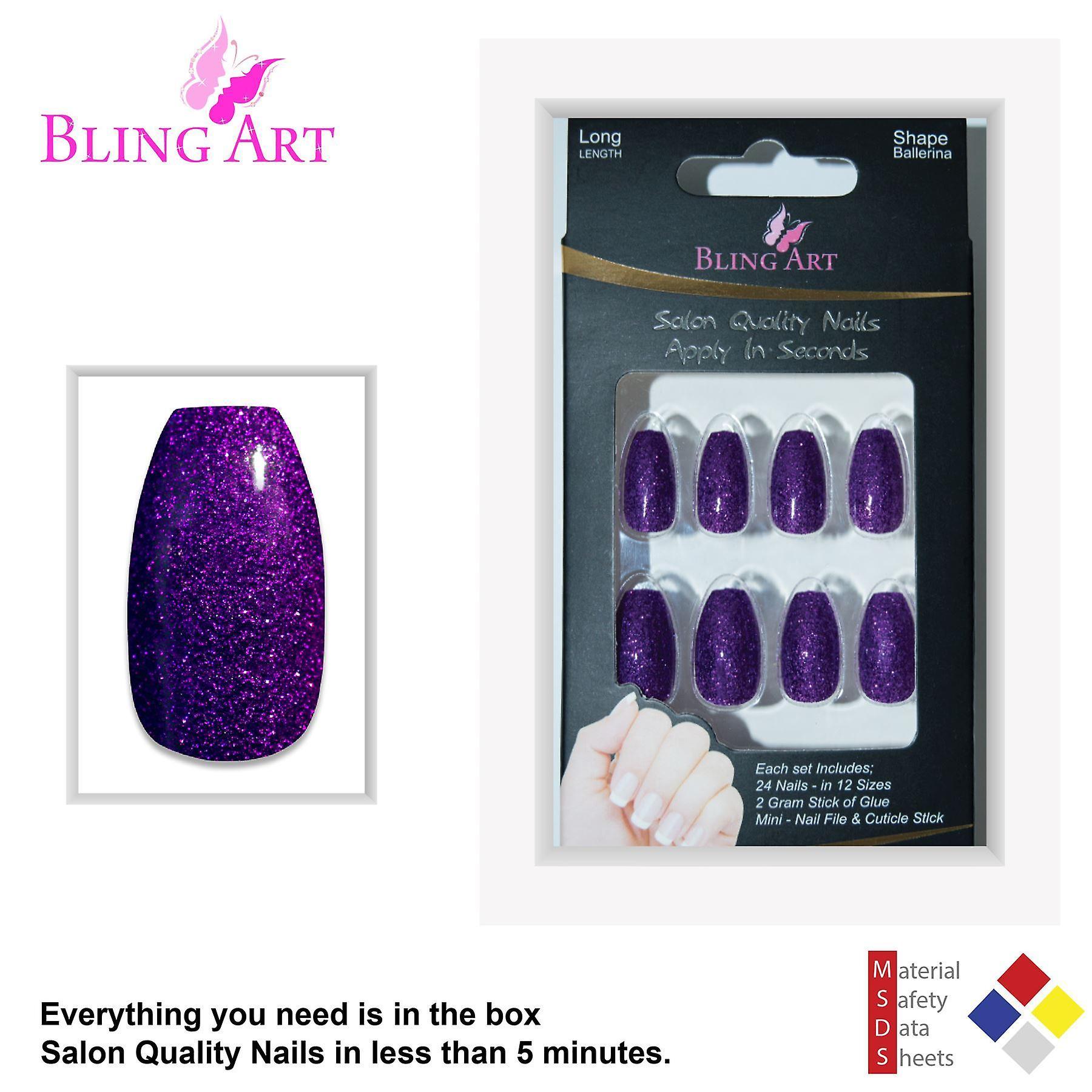 False nails by bling art purple gel ballerina coffin 24 fake long acrylic tips