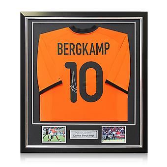 Dennis Bergkamp Signed Holland Football Shirt 2000-02. Framed