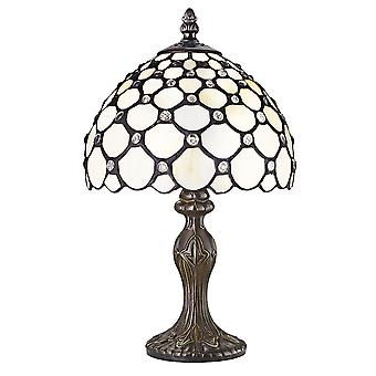 Traditional White Tiffany Table Lamp with Multiple Transparent Beads