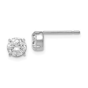 14k Branco Ouro Post Brincos CZ Zircônia Cuba Simulado Diamante Stud 5.0mm Brincos Joias Para Mulheres