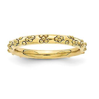 2.5mm 925 Sterling Silver Stackable Expressions 14k Gold Plated Textured Ring Jewelry Gifts for Women - Ring Size: 5 to