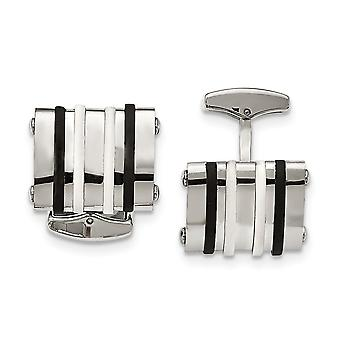 Stainless Steel Polished Black White Rubber Bands Rectangle Cuff Links Jewelry Gifts for Men
