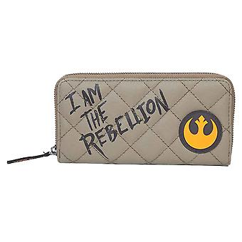 Star Wars Purse I am the Rebellion Logo new Official Beige Zip Around