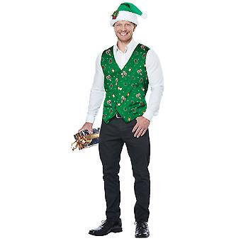 Elf Holiday Green Vest Hat Clip Christmas Santa Festival Mens Costume Kit