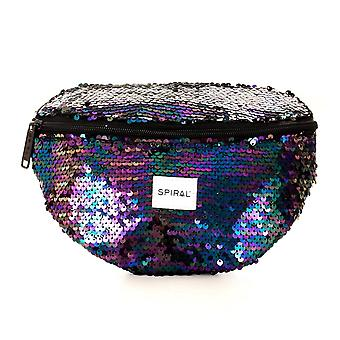 Spiral Midnight Sequin Bum Bag