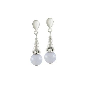 Eternal Collection Bella Blue Lace Agate Silver Tone Drop Screw Back Clip On Earrings