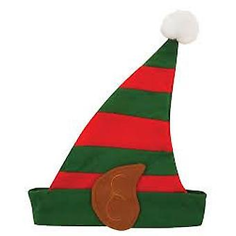 Adults Elf Hat With Ears Christmas Fancy Dress Accessory