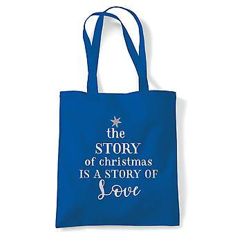 The Story Of Christmas Tote | Christmas Xmas HoHoHo Season Greetings Merry | Reusable Shopping Cotton Canvas Long Handled Natural Shopper Eco-Friendly Fashion