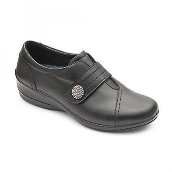 Padders Simone 3 Ladies Leather Wide (e/2e) Sapatos Preto
