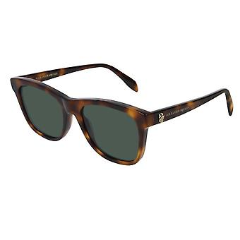 Lunettes de soleil Alexander McQueen Am0158s 002 54 Iconic Havana And Green Square