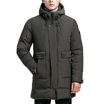 Allthemen Men's Winter Coat Mid-Long Thicken Warm Hooded Padded Jacket