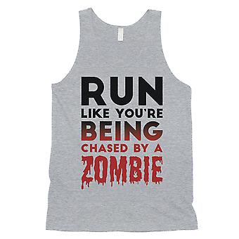 Chased by zombie Mens Grey hauska hilpeä pelottava säiliö alkuun ystävä lahja