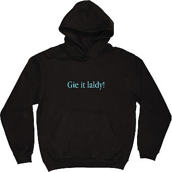 Gie It Laldy Black Hooded-Top
