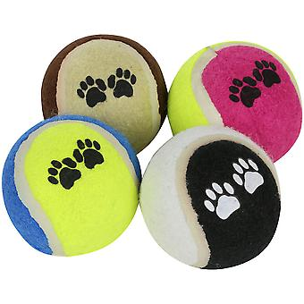Regatta Fetch Set of 6cm Diameter Paw Print Tennis-Style Dog Toy Balls