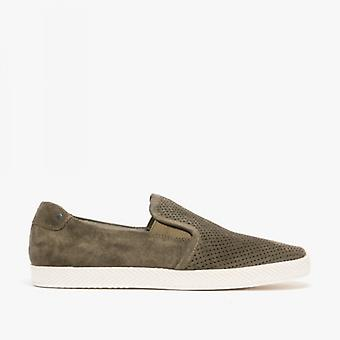 Base London Clipper Mens Perforated Suede Casual Shoes Olive
