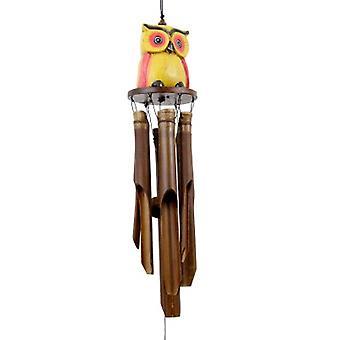 Oscar Owl Yellow Bamboo Wind Chime