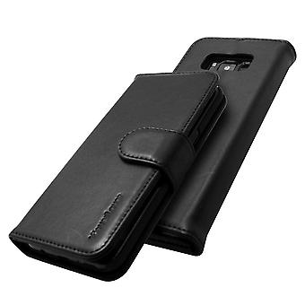 For Samsung Galaxy S8 Wallet Case,iCL Real Top-grain Cow Leather Cover,Black