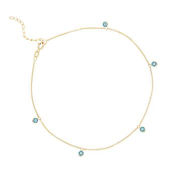 14k Yellow Gold Dangle Multi Evil Eyes Anklet 10 Inch Jewelry Gifts for Women - 1.6 Grams