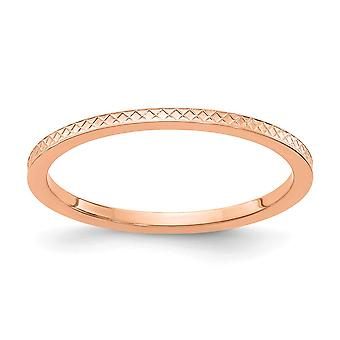 10kr 1.2mm Criss cross Pattern Stackable Band Ring Jewelry Gifts for Women - Ring Size: 4.5 to 10