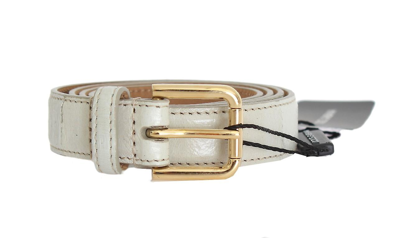 Light Gray Stitched Edge Leather Gold Buckle Belt