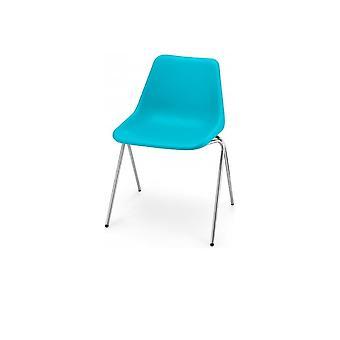 Chaise en plastique bleu de Vert ée de Robin Day Poly Side