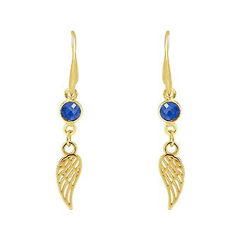 GEMSHINE Dames Oorbellen Wing WINGS Angel in 925 Zilver of Verguld - Sapphire