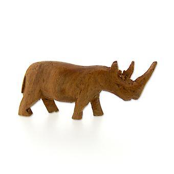 Handmade Wooden Rhino Figurine – 7.5cm
