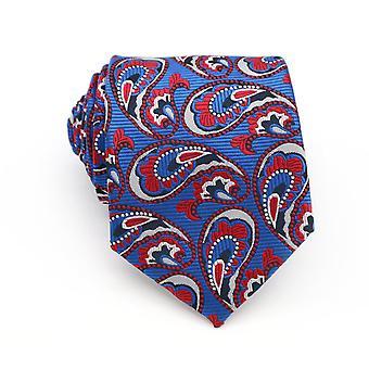 Luz de gravata de largura padrão azul branco & vermelha estampada masculino