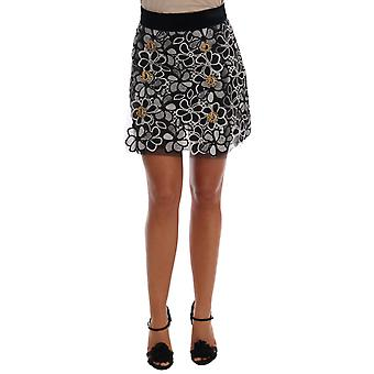 Dolce & Gabbana Floral Macrame Lace Crystal Button Skirt