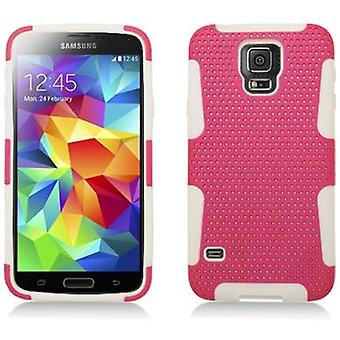 AIMO Hybrid Gummy Mesh Case for Samsung Galaxy S5 - White/Hot Pink