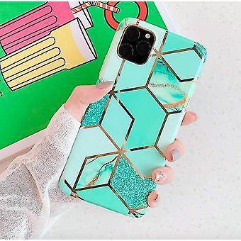 Mobile Schale für iPhone 11 mit türkisfarbenem Marmormuster