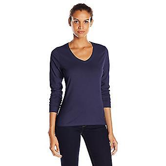 Hanes Women's V-Neck Long Sleeve Tee, Hanes Navy,, Hanes Navy, Size X-Large