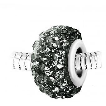 Charm perle pav� de cristaux gris et acier par SC Crystal BEA0028