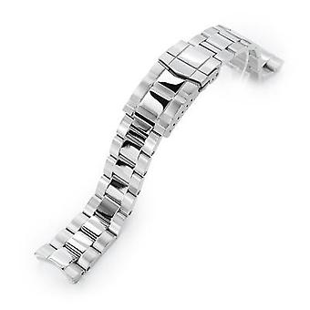 Strapcode watch bracelet 20mm super 3d oyster 316l stainless steel watch bracelet for seiko mini turtles srpc35, submariner clasp, polished & brushed