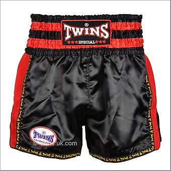 Twins special retro muay thai shorts - black red