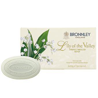 Bronnley Parfumé savon fait à la main - Lily of the Valley Triple Milled Soap - dans Gift Box 3x100g