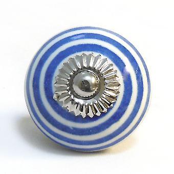 Perilla de puerta de cerámica - blanco / azul marino - Raya