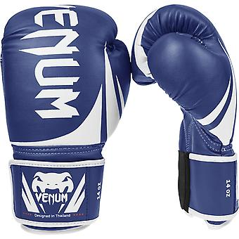 Venum Challenger 2.0 Hook & Loop PU Leather Training Boxing Gloves - Blue/White